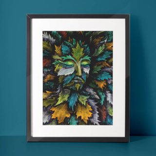Green Man - oil pastels on paper